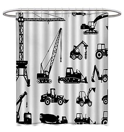 Construction Shower Curtain Customized Black Silhouettes Concrete Mixer Machines Industrial Set Trucks Tractors Fabric Bathroom