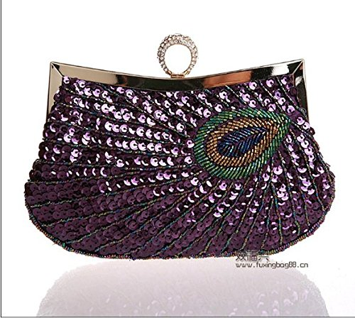 Contre Admission Package Embroidery Le Purple Partie Paquet Bagues À Main Bead Sac Sacs Ladies Manual Bag Petit Dîner Paquet Main Peacock Style Mesdames À Forfait KLXEB OwxYAgqHq
