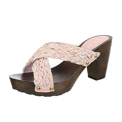 Damen Sandalen Pantoletten Sandaletten High Heels Plateau ST625 (38, Weiß) Schuhtraum