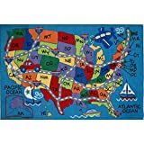 LA Rug Travel Fun Blue Accent Rug (5'3 x 7'6)