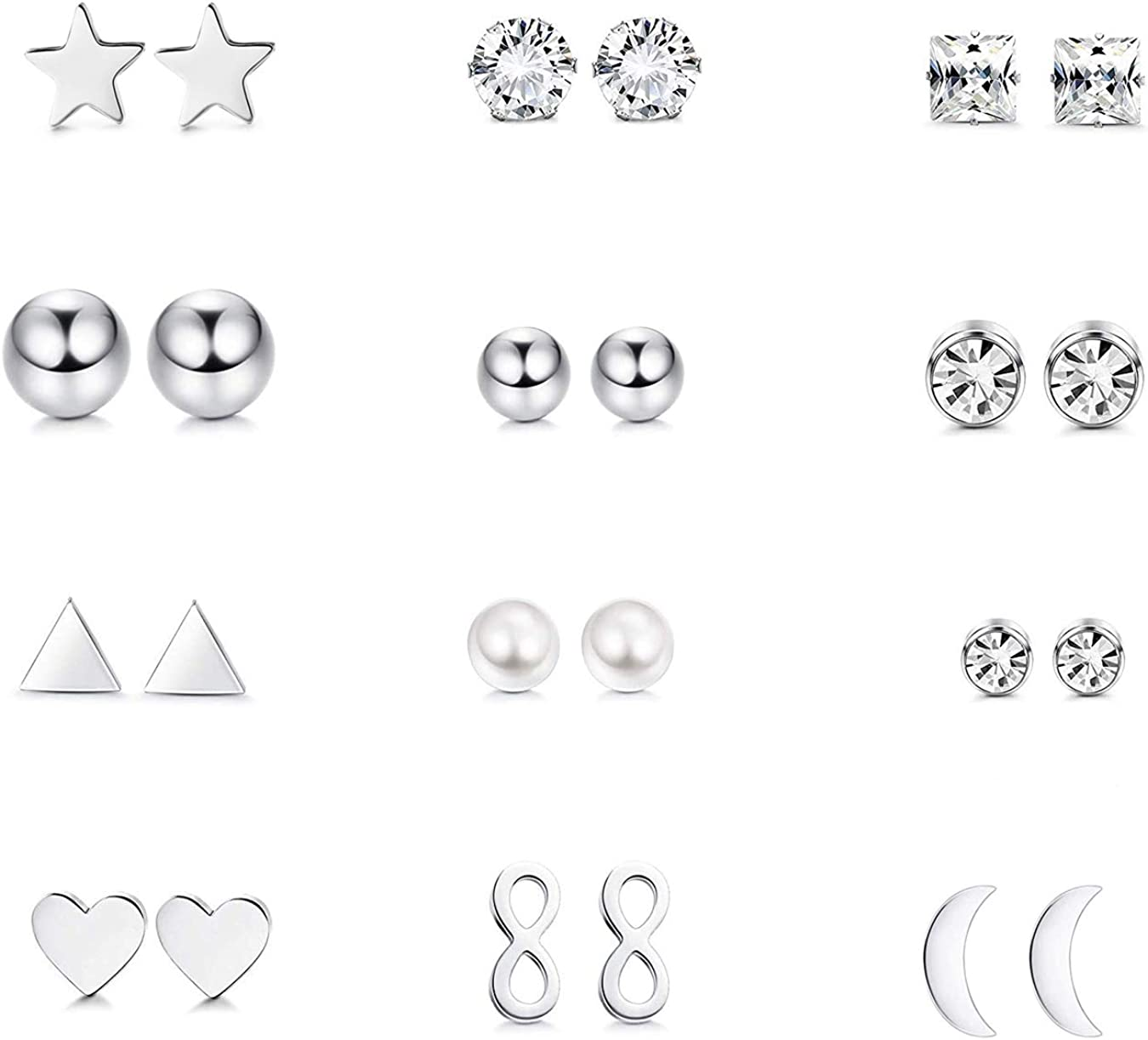 pair Stainless Steel 3 Color Star Sun Emblem Circle Stud Earrings