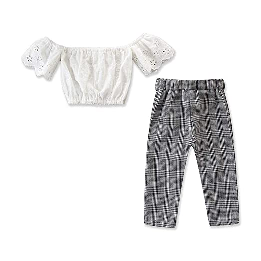 159f5a2dd95 Amazon.com  Whitegeese Toddler Kids Baby Girls Outfits Clothes Off Shoulder  Tops+Plaid Long Pants Set  Clothing