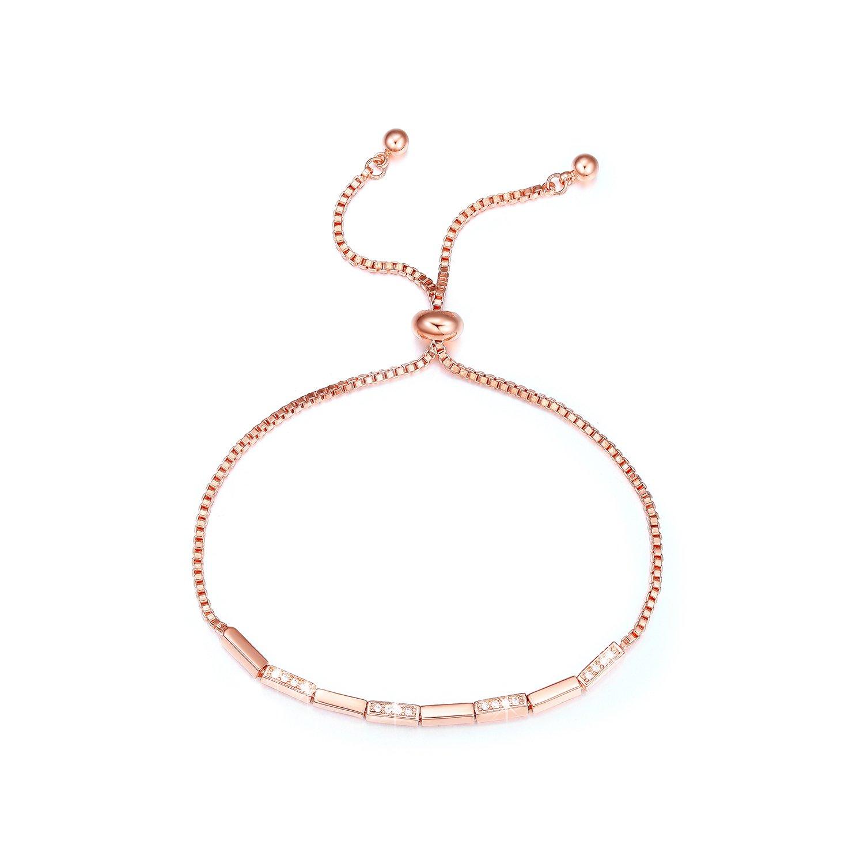 SPILOVE 18k Rose Gold Plated CZ Crystals Adjustable Link Bracelets Birthday Wedding Anniversary Graduation Gifts for Women Mom Wife Girls, 10.2''