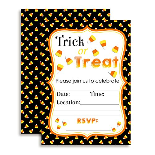 Trick or Treat Candy Corn Halloween Party Invitations, 20 5