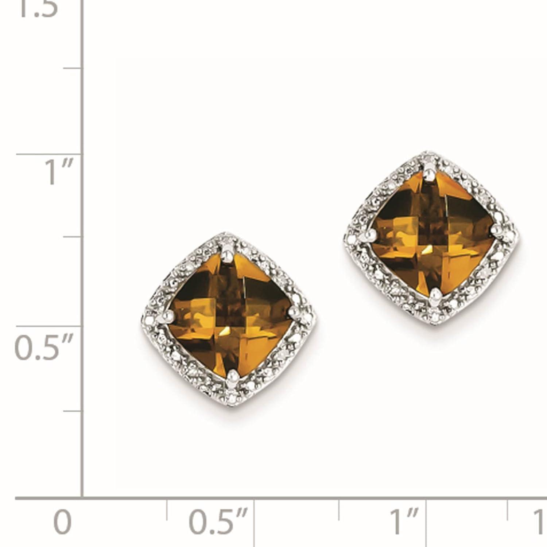 925 Sterling Silver Rhodium-plated Whiskey Quartz /& Diamond Post Earrings
