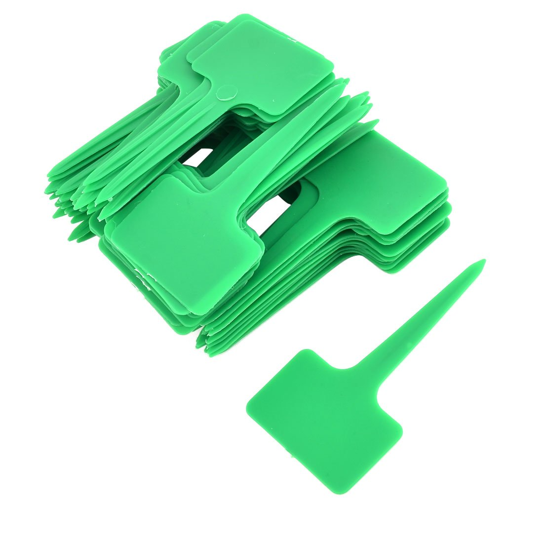 uxcell Plastic Outdoor Garden T Shaped Plant Seed Tag Label Marker Sign 100pcs Green