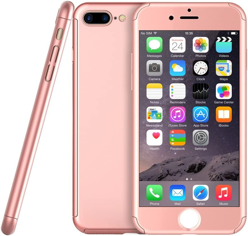 Amazon Com Rose Gold Ultra Thin 360 Case Apple Iphone 7 Plus W Tempered Glass Protector