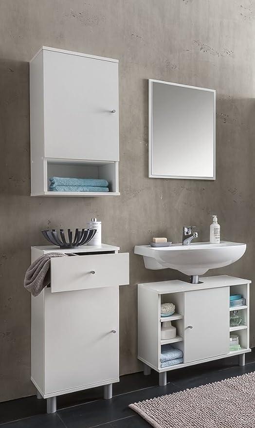 WILMES 80011 - 75 0 75 DE Muebles de baño Set, baño Combinación Madera, Color Blanco melamina Adornos, 1 x 1 x 1 cm: Amazon.es: Hogar