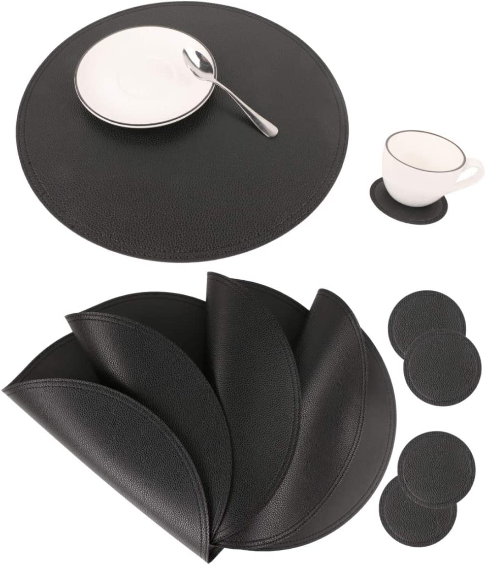 Jovono Faux Leather Round Placemats and Coasters, Disko Table Mats and Drink Spills Coasters, Easy to Clean, Double Stitched for Kitchen Dining Table, Diameter 13'' and 3.9''
