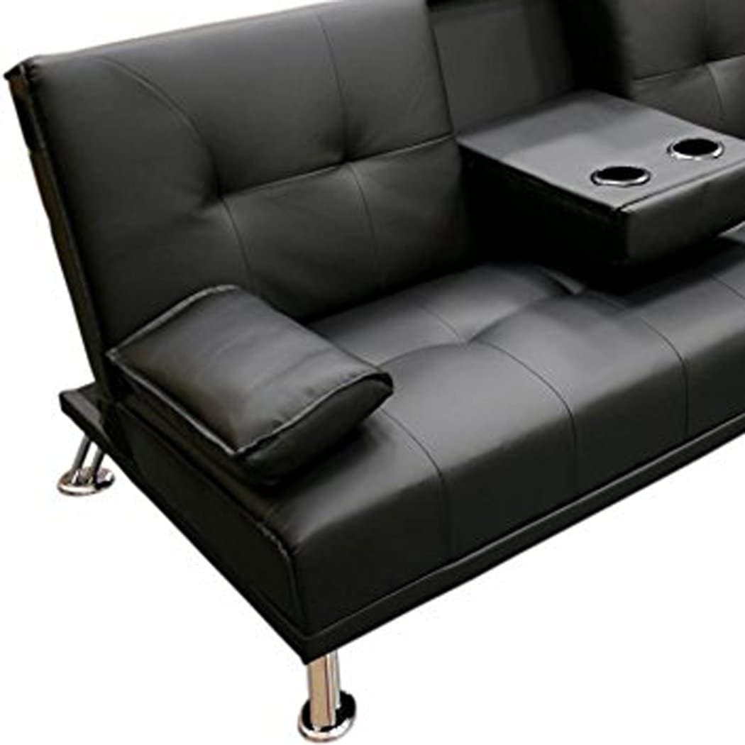 Humza Amani Faux Leather Folding Sofa Bed With Cup Holders Cinema Style (Grey) Black
