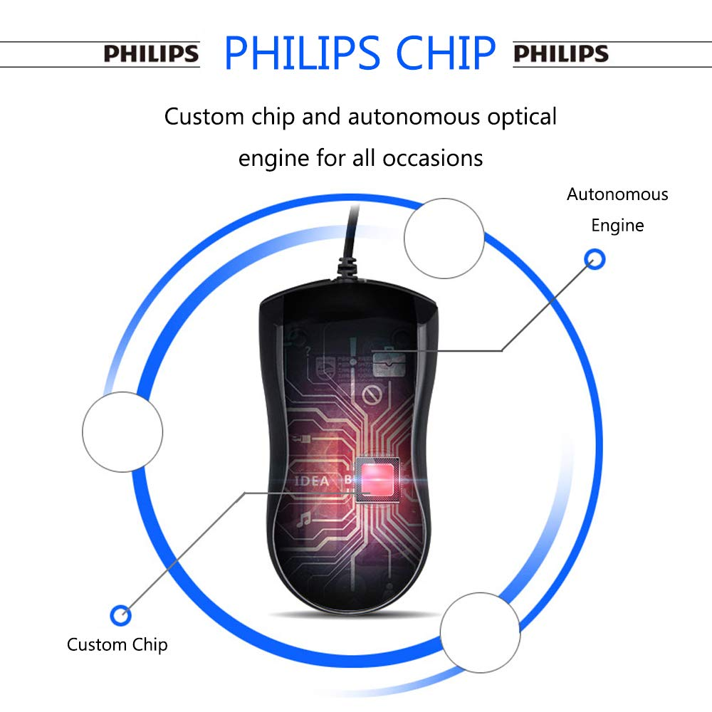 Philips USB Wired Mouse, Portable Optical Mice Silent Click Noiseless laptop Mice 1000 DPI for PC Laptop Notebook Mac - Black