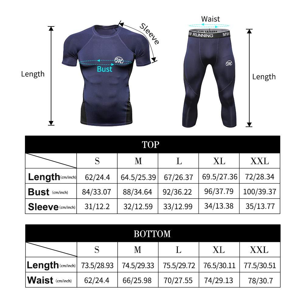 MEETWEE V/êtements de Sport Homme S/échage Rapide pour Gym Jogging Cyclisme Legging Homme 3//4 Pantalon de Compression Homme