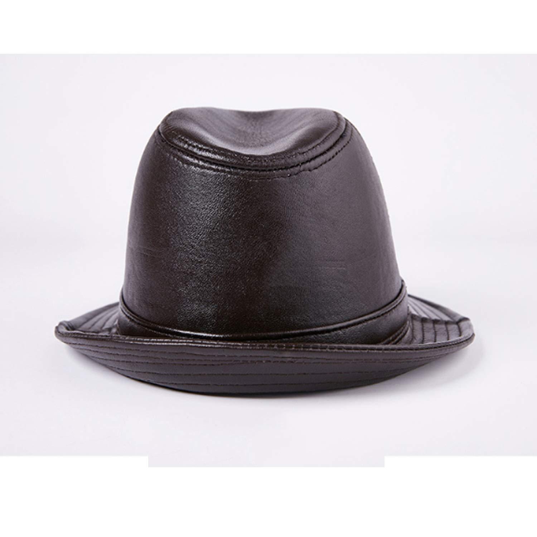 JiuRui Gorros y Sombreros Sombrero de Piel de Vaca Real de Cuero Oveja Piel Jazz Cap Hombre Oto/ño Invierno Retro Caballero Sombrero Plano