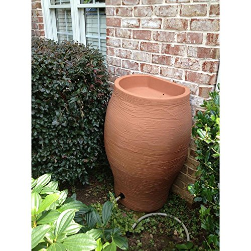 RESCUE 50 gal. Terra Cotta Water Urn Rain Barrel with Integrated Planter and Diverter Kit