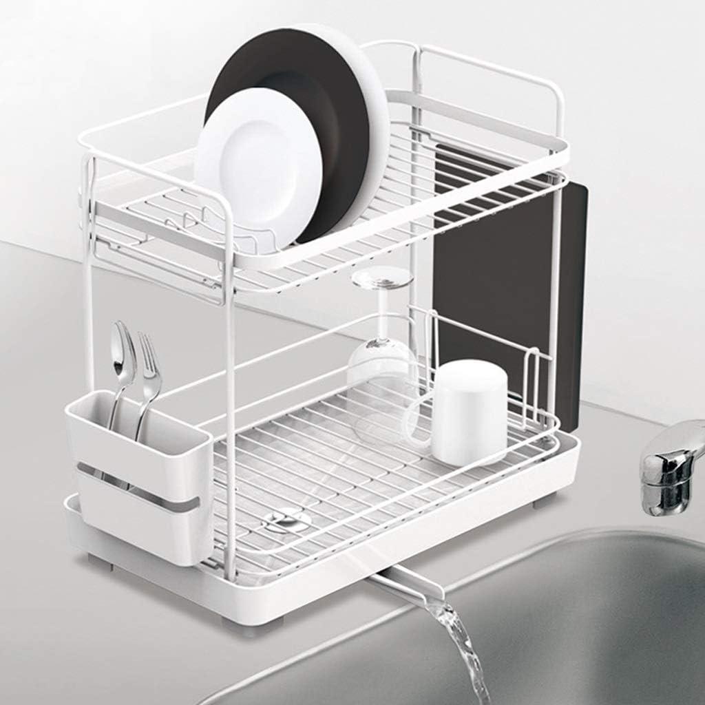 Rack de secado de platos - Rejilla de drenaje de cocina de acero inoxidable - Fregadero Rack de secado de platos con bandeja de cubiertos extraíble y escurridor con caño giratorio ajustable - Blanco
