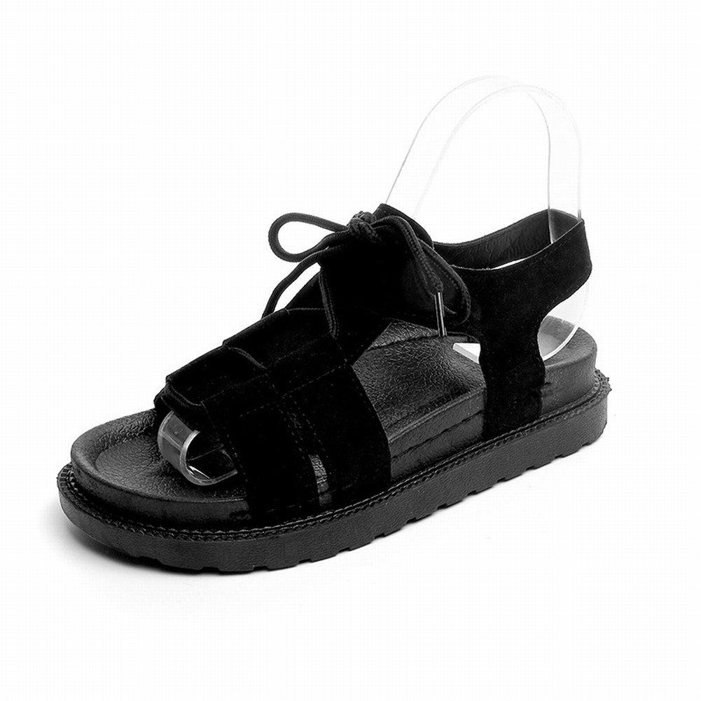YTTY Sandalen Schulmauml;dchen Riemen mit Flachen Schuhen Alle Passen Strand Weichen Boden Groszlig;e Damenschuhe  35 Schwarz