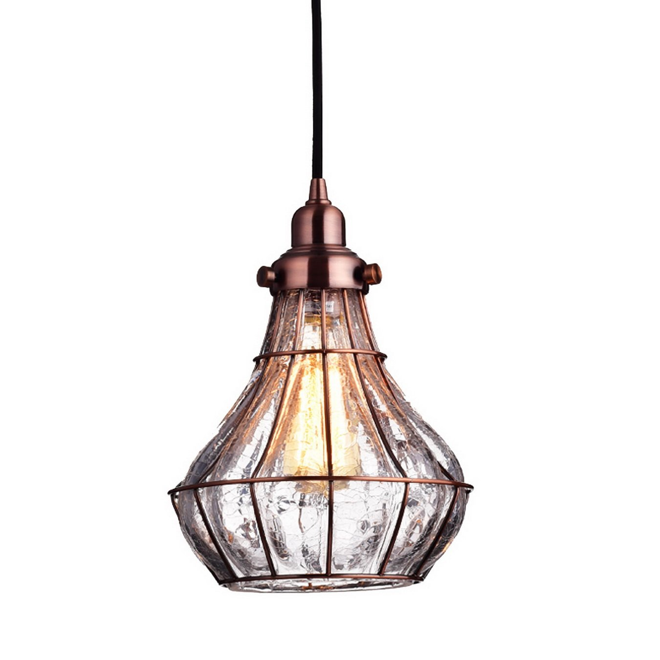 YOBO Lighting Cracked Glass Vintage Wire Cage Ceiling Pendant Light, Red Antique Copper