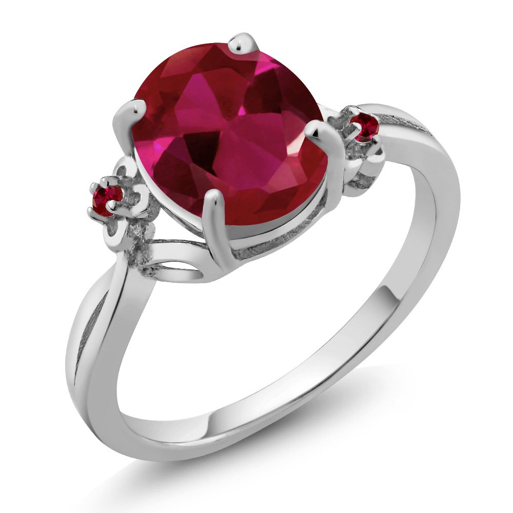 2.53 Ct Oval Red Created Ruby 14K White Gold Ring (Ring Size 8)