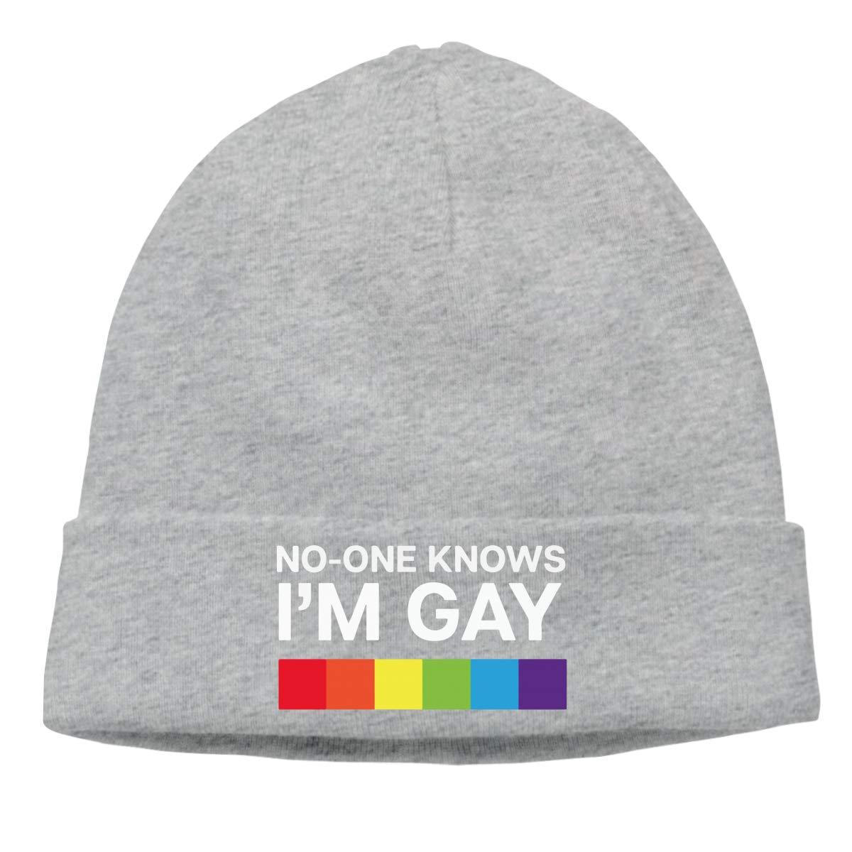 Men Women No One Knows Im Gay Soft Knit Beanie Caps