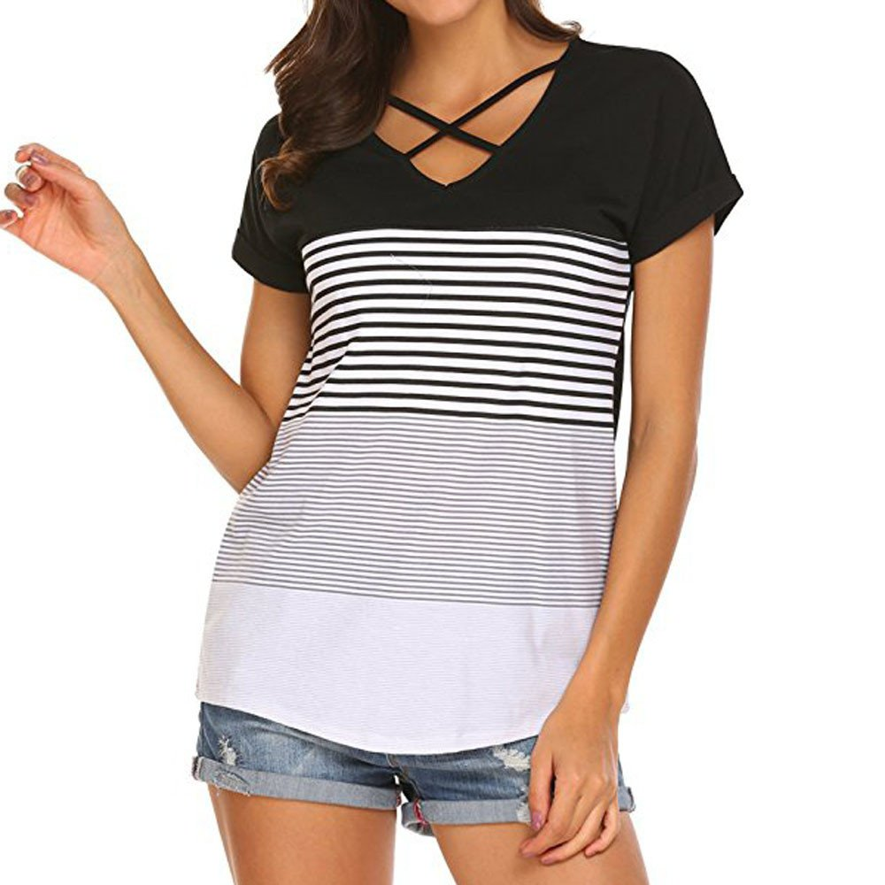 Vickyleb Womens T-Shirt Short Sleeve Shirts for Women Round Neck Triple Color Block Casual Tunic Blouse Loose Tops Black