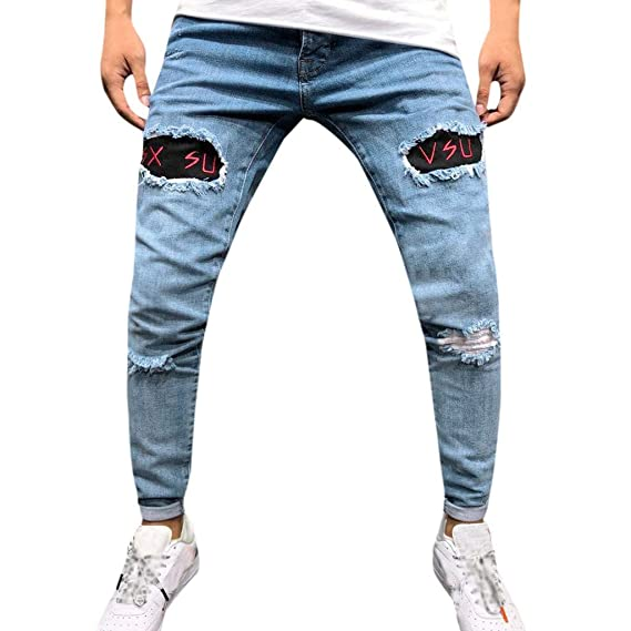 2019 Uomo Distressed Jeans Pantaloni, Sportivi Pantaloni