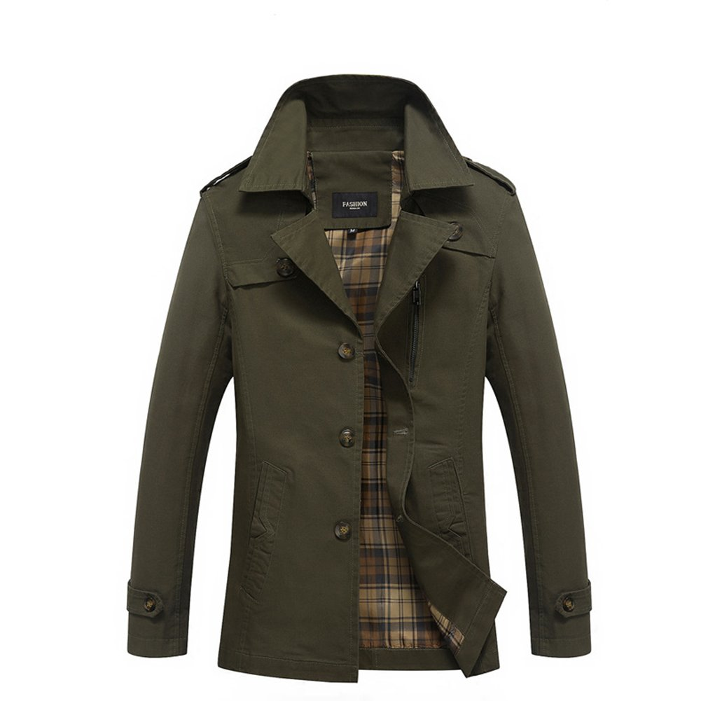 Srilemes Men's Casual Long Sleeve Outdoor Comfortable Cotton Casual Jacket Army green M