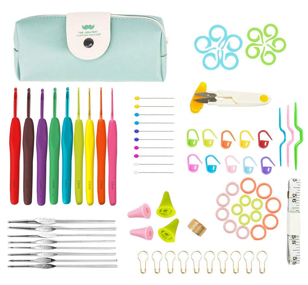 Crochet Hook Set, Lnkey Aluminum Crochet Tool for Crochet Beginners with Silicone Soft Handle, Including Blunt Needles, Scissor and Locking Stitch Marker, Tape Measures