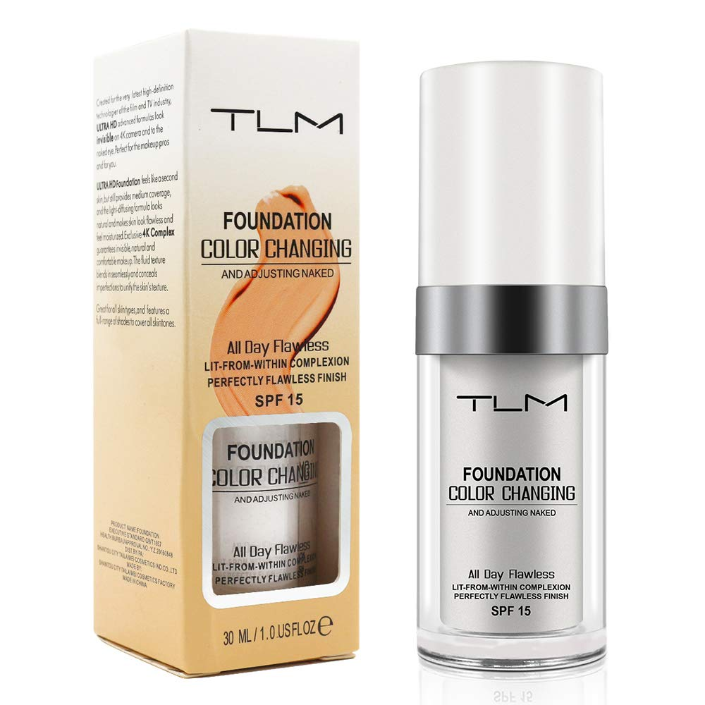 TLM Flawless Colour Changing Foundation Makeup, Concealer Cover Cream, Warm Skin Tone Foundation liquid, Base Nude Face Moisturizing Liquid Cover Concealer for Women and Girls