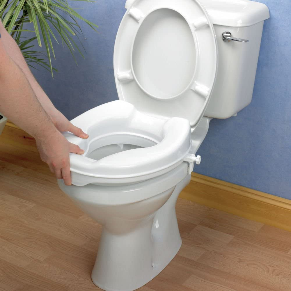 "4"" RAISED TOILET SEAT WITH LID EASY TO FIT Gives extra height to wc"