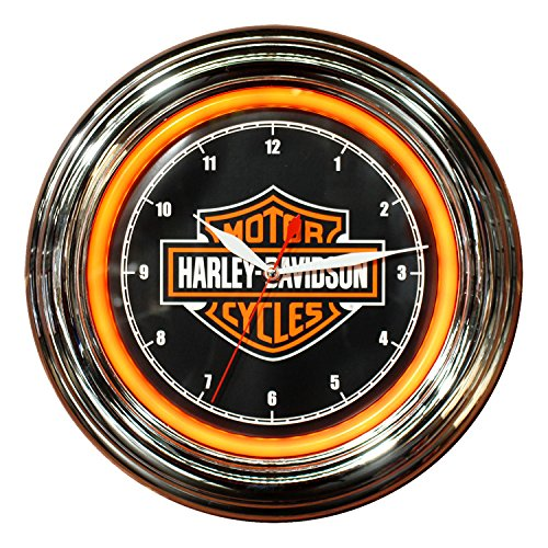 Harley Davidson Bar & Shield Bright Orange 12in LED Wall Clock (Harley Davidson Neon Clock)