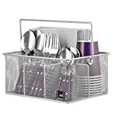 Silver Utensil Holder By Mindspace, Kitchen Condiment Organizer and Flatware Utensil Caddy   The Mesh Collection, Silver