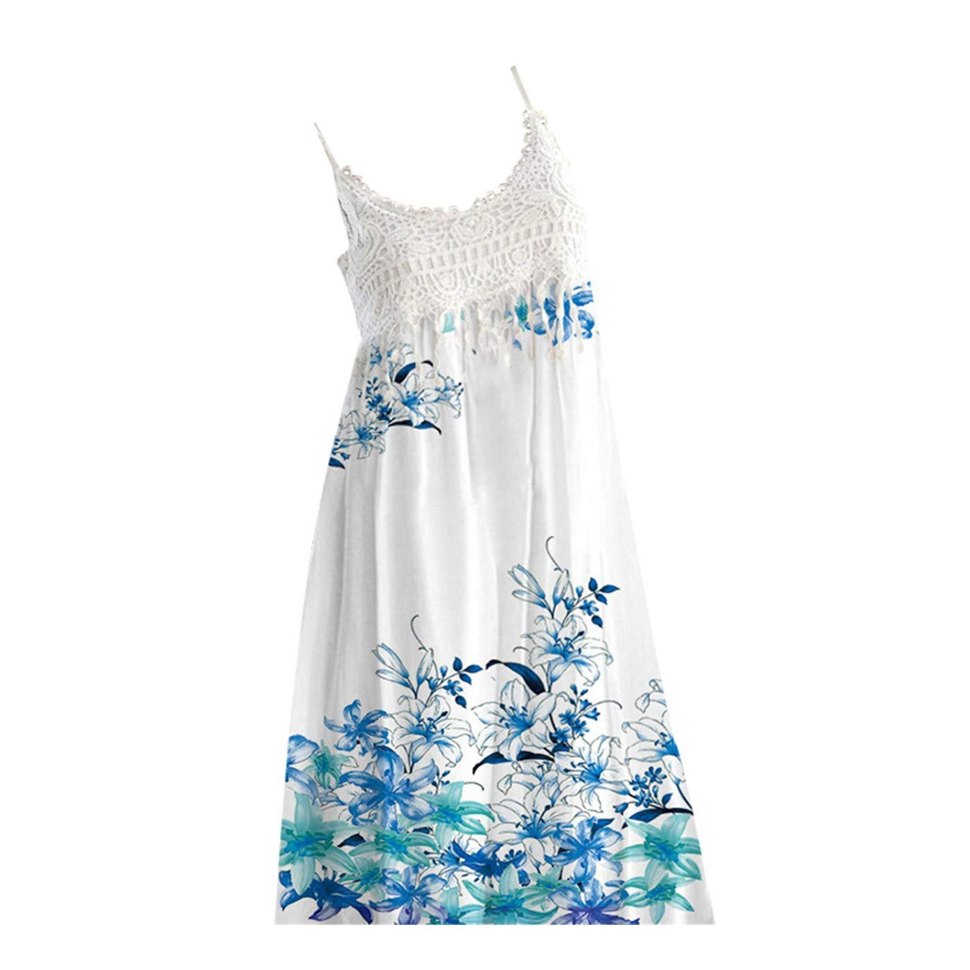 KUDICO Damen Kleid Ärmellos Sling Sommerkleider Lässig Locker Minikleid Spitze Blumendruck Gekräuselt T-Shirt Kleid Strandkleid