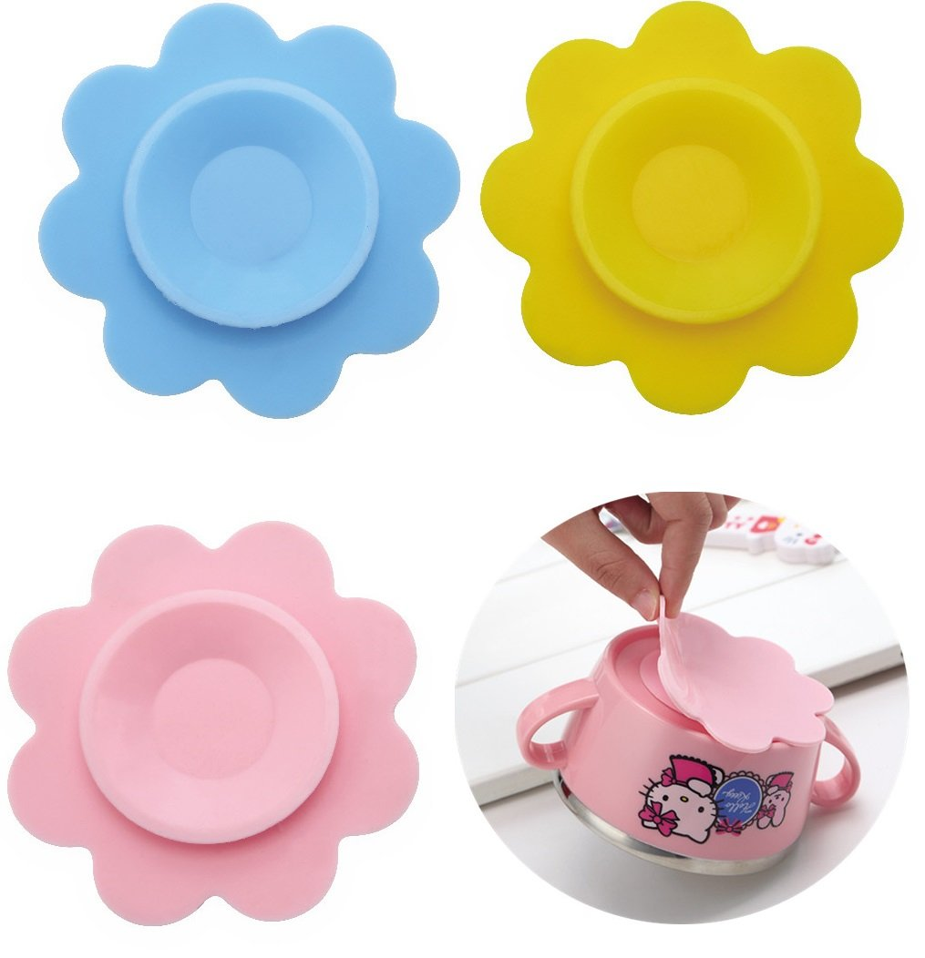 Baby Bowl Suckers, Flower Shape Baby Safe Bowl Non-slip Mat Silicone Suction Pad Tableware Sucker Sticker 3 Pieces EQLEF®