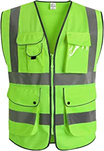 XIAKE Class 2 Reflective Safety Vest with 9 Pockets and Zipper Front High Visibility Safety Vests,ANSI/ISEA Standards(Medium,Apple Green)