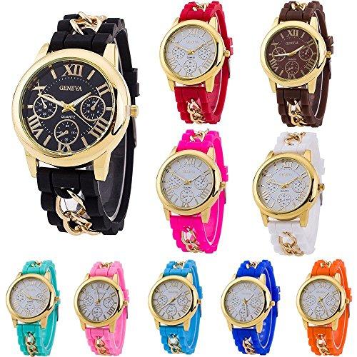 CdyBox Women Men Kids Silicone Band Wholesale 10 Assorted Quartz Watches Jelly Gel Bracelet