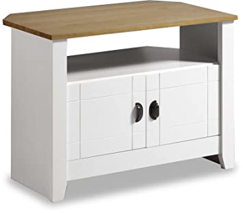 free shipping d420b 12a3f ValuFurniture Ludlow Painted White and Oak TV Stand/Entertainment Cabinet