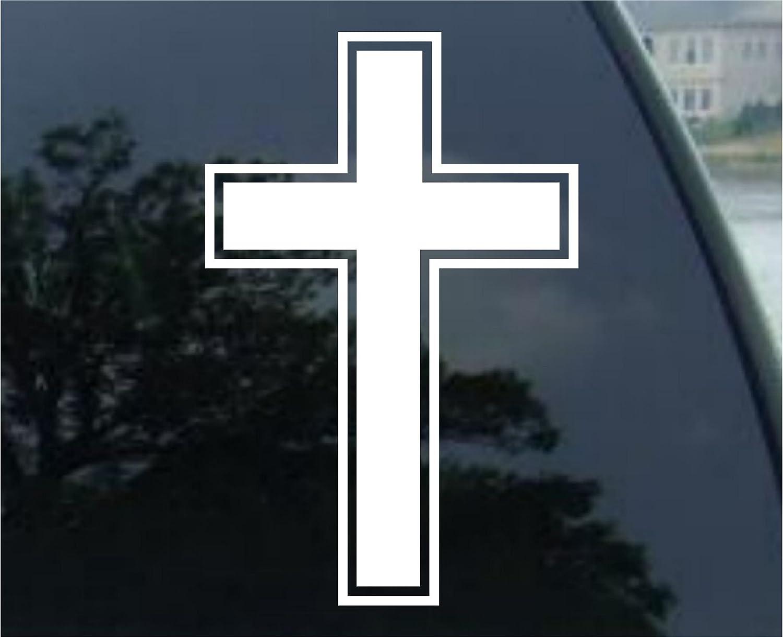 Crosstread Christian Cross Vinyl Sticker Decal For Cars Trucks Etc 4 5 White