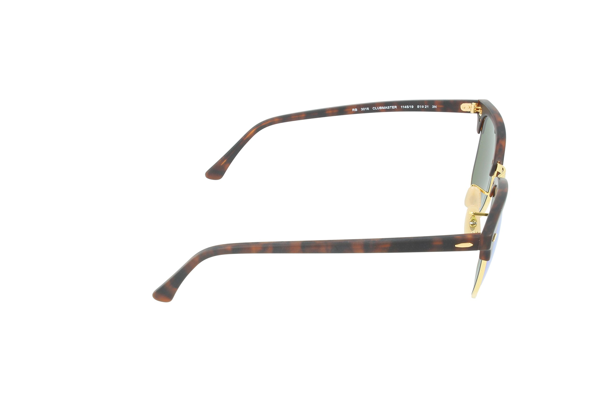 Ray-Ban CLUBMASTER - SAND HAVANA/GOLD Frame GREY MIRROR GREEN Lenses 51mm Non-Polarized by Ray-Ban (Image #3)