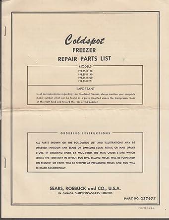 Freezer Parts Diagram | Sears Roebuck Coldspot Freezer Repair Parts List Ca 1950s At