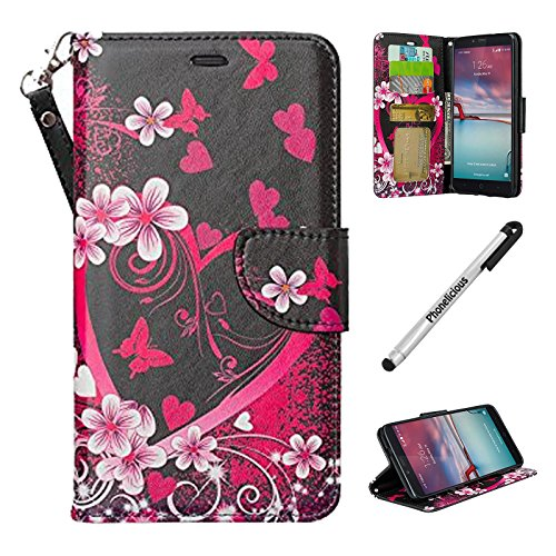 ZTE ZFIVE 2 Case, Phonelicious ZTE ZFIVE 2 Wallet PU Leather Case Premium Pouch ID Credit Card Cover Flip Folio Book Style with Money Slot +Pen (HEART SAKURA)