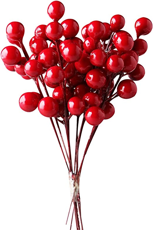 Amazon Com Ifoyo Red Berries 10 Artificial Red Berry Stems For
