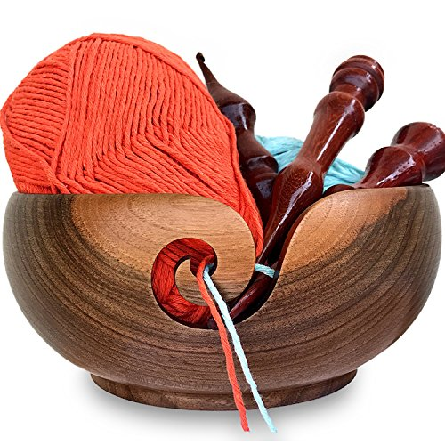 Yarn Bowl Walnut and Knitting Bag