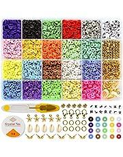 CaiTang Parels voor armband, 4200 stuks kralen voor sieraden, parels, space-parels, 20 kleuren, platte parels met letters, parels, set voor knutselen, sieraden, halskettingen, armbanden, volwassenen en kinderen