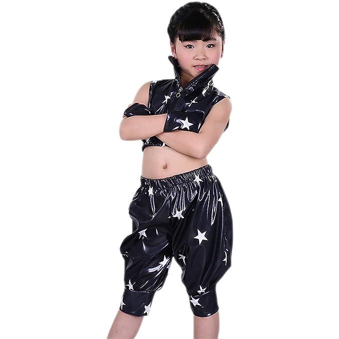 0a53fae4cc343 XFentech Niños Niñas Sin Mangas Moderno Jazz Hip Hop Traje de Baile  Chaqueta Pantalones Ropa Dancewear  Amazon.es  Ropa y accesorios