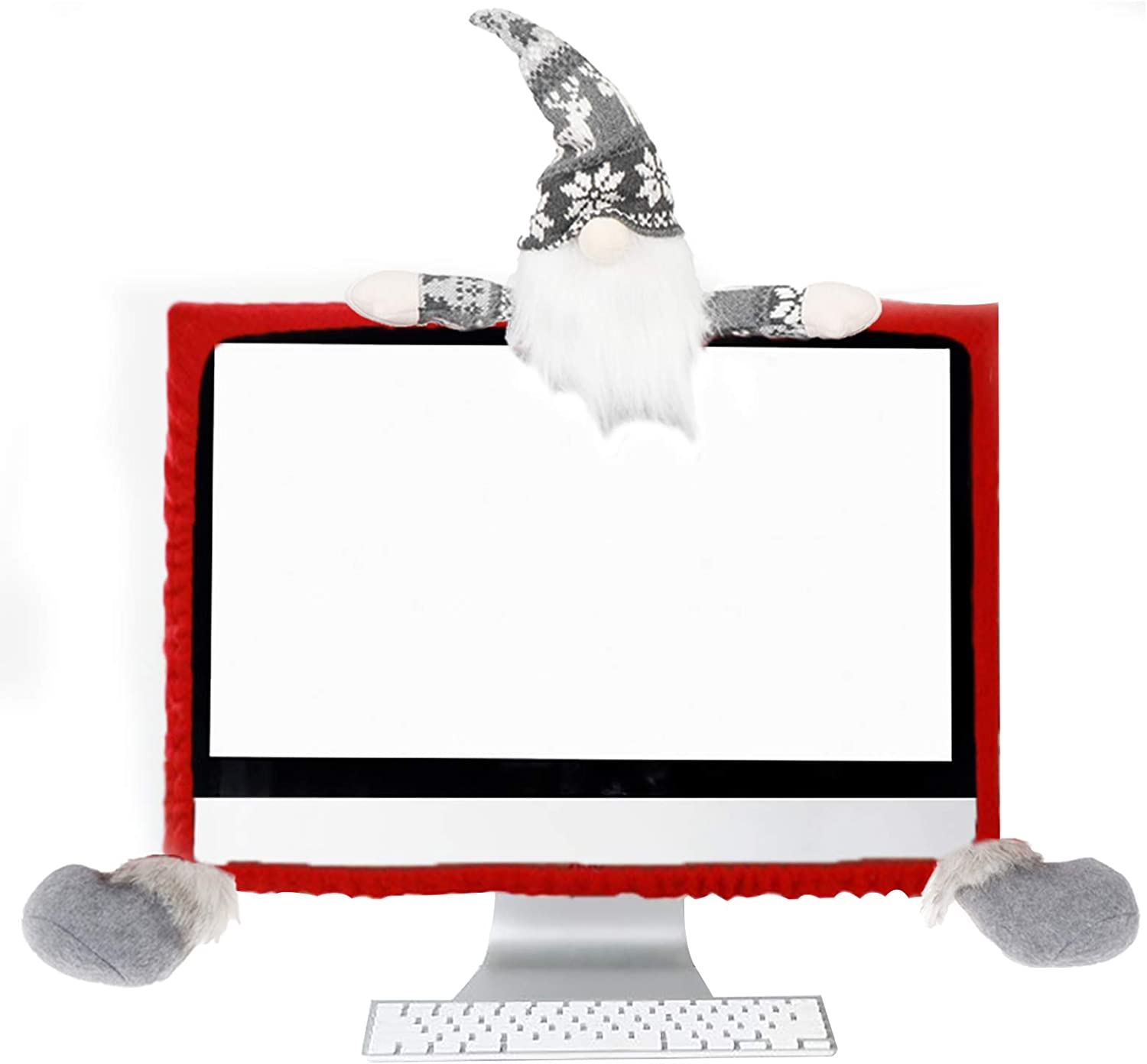 Christmas Computer Border Cover, Computer Monitor Dust-Proof Protective Cover Christmas Decorations for Home Office Internet Bar (Old Man in Gray Hat)
