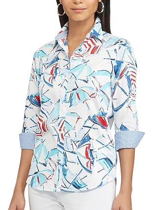 986d91e3 Chaps Women's Petite Printed No-Iron Button Down Shirt (Red, White, Blue