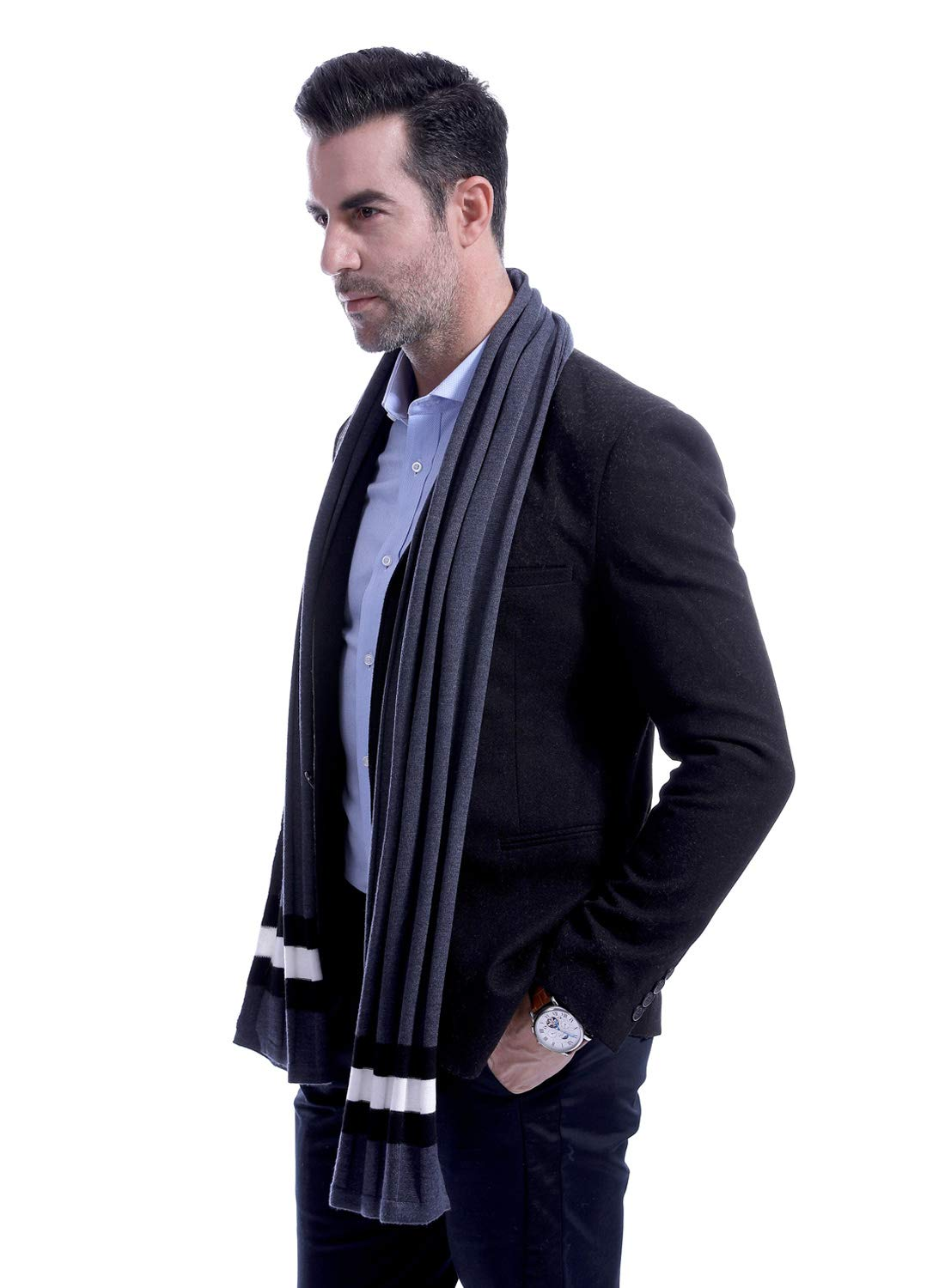 Men Plain Thermal Scarf Knitted Striped Winter Scarves One Size Leisure Business Men Warm Neckerchief Gray by Panegy (Image #2)