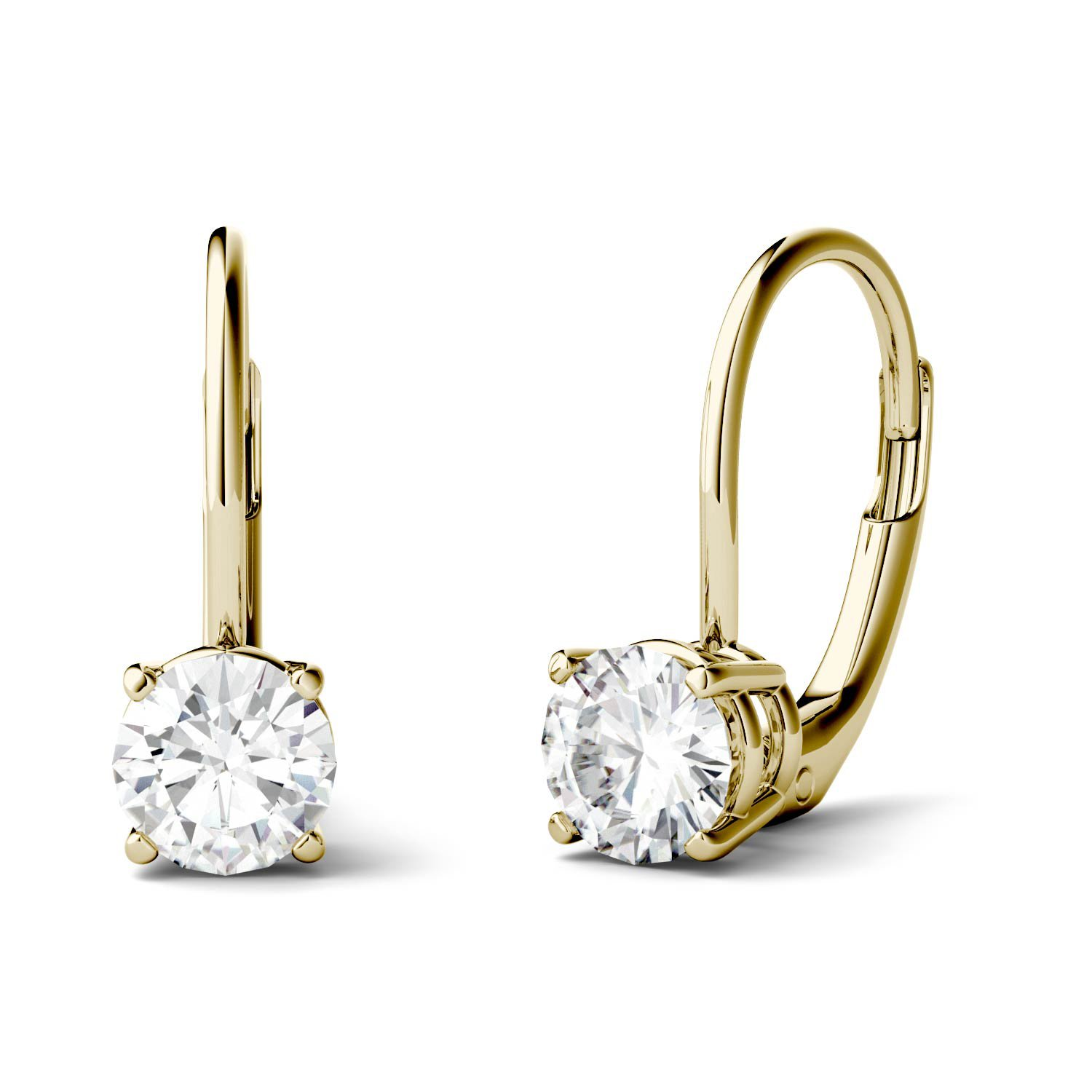 Forever One 5.0mm Round Moissanite Drop Earrings, 1.00cttw DEW (G-H-I) By Charles & Colvard