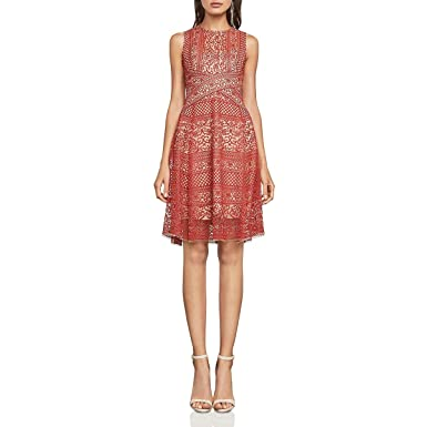 214894c17cc Amazon.com  BCBG Max Azria Womens Alice Lace Fit   Flare Cocktail Dress   Clothing
