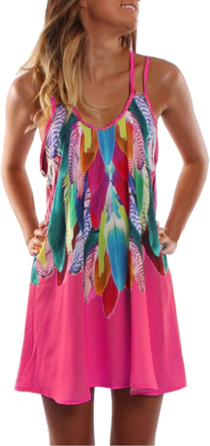 Damen Gestreift Minikleid Strandkleid Sommerkleid Freizeit Tunika Träger Kleider